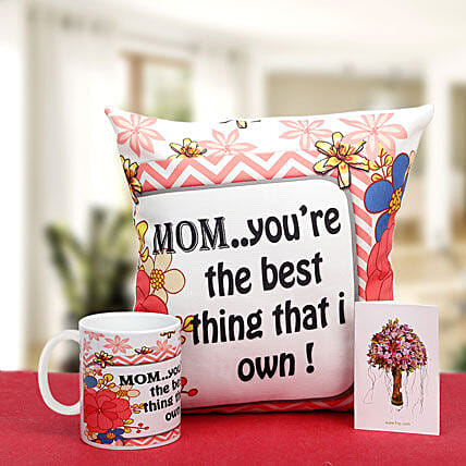 Munificent Mommy-12x12 inches mother special cushion,white ceramic coffee mug and greeting card:Send Mothers Day Gifts to Udupi