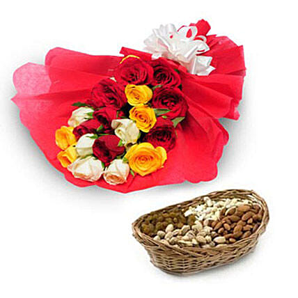My Best Wishes - Bunch of 10 Red Roses, 5 Yellow Roses, 5  roses in red color paper packing and 500gm mixed dryfruits in a cane basket.:Flower & Dryfruits for Fathers Day