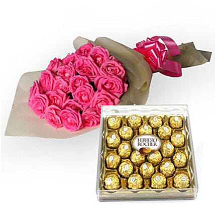 My Fondest Affection - Bunch of 25 Pink Roses in cream color paper packing with box of 300gm Ferrero Rocher chocolate.