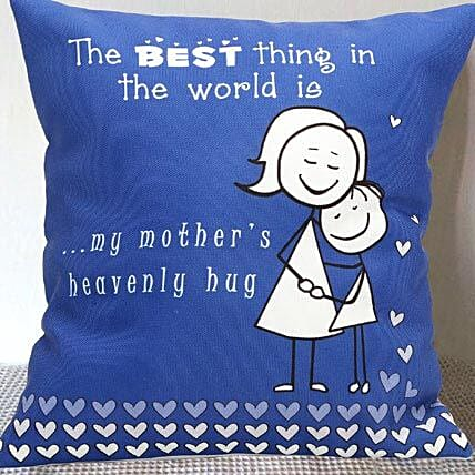 Mom's Hug Blue Cushion
