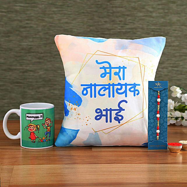 Nalayak Bhai Rakhi Hamper Hand Delivery:Send Rakhi with Mugs
