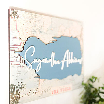 World Map Printed Nameplate