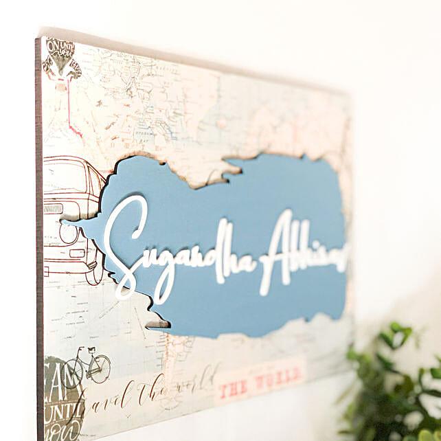 World Map Printed Nameplate
