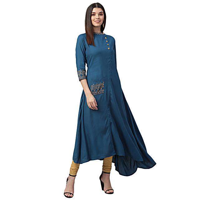Nesara Sequin Embroidered Rayon Dark Blue Dress
