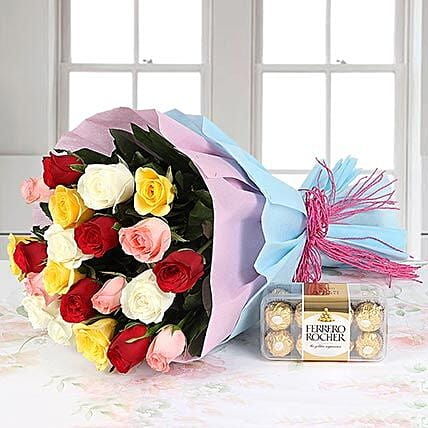 Mixed roses bouquet with chocolates