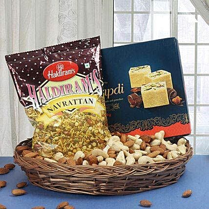 Gift hamper of sweets, mixture and dry fruits:Sweets & Dry Fruits for Diwali