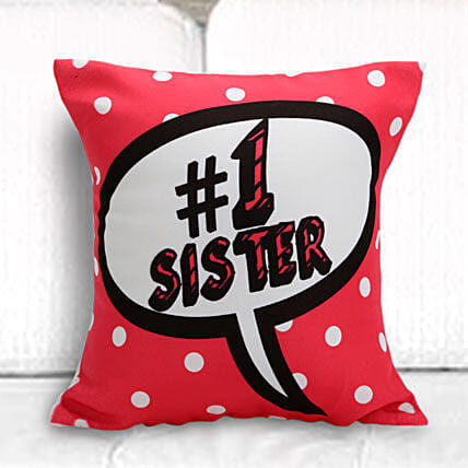 Online Number One Sister Printed Cushion:Bhai Dooj Gifts For Sister