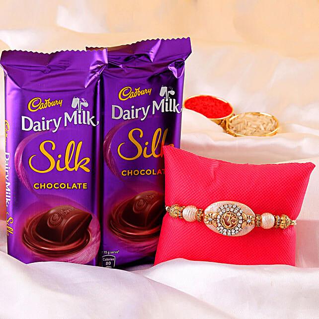 online Om Rakhi & Dairy Milk Silk Combo