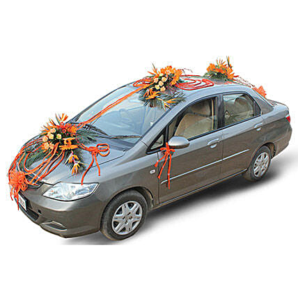 Orange fresh flower car decoration