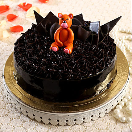 Orange Teddy Fondant Truffle Cake