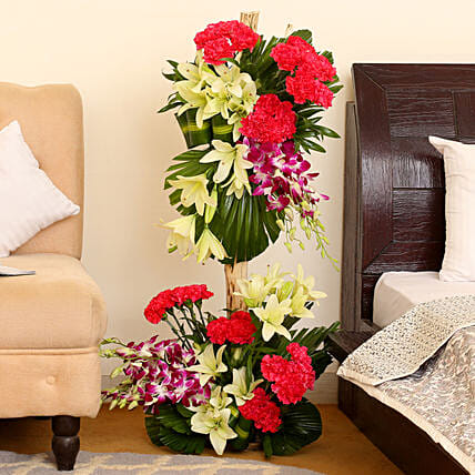 Online Orchids and Carnations Flower Arrangements