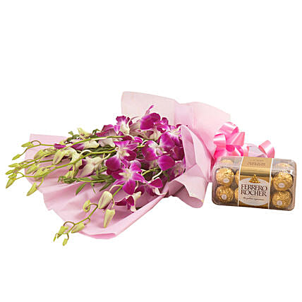 Orchids N Chocolates - Bunch of 6 Purple Orchids and 200gm Ferrero Rocher.:Send Gifts for 75Th Birthday