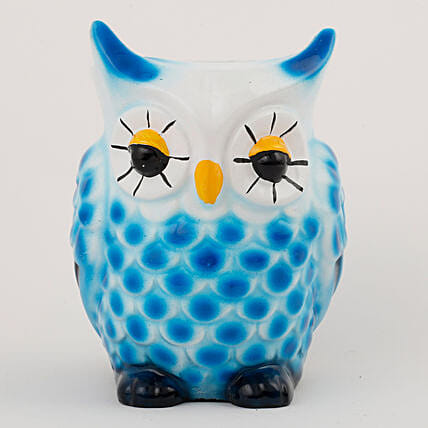 blue color owl shape vase