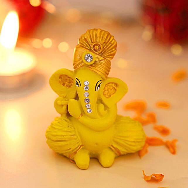 online Pagdi Wale Ganesha Ji Idol With Flute - Matte Yellow:Ganesh Idols