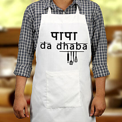 "Printed text Apron ""Papa da dhaba"" for Dad:Apron"