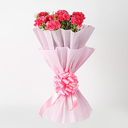 Bunch of 10 pink carnations flowers womens day women day woman day women's day:House Warming Flowers