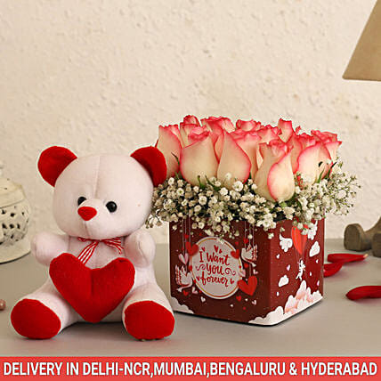Online Pastel Roses And Cute Teddy:Flowers & Teddy Bears