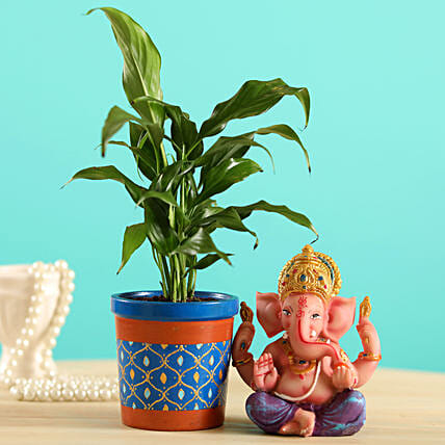 Peace Lily Plant & Ganesha Idol Combo