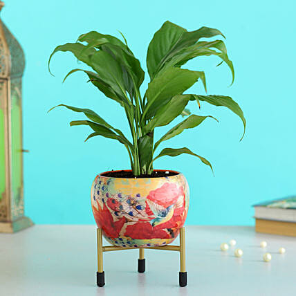 peace lily plant floral printed metal pot