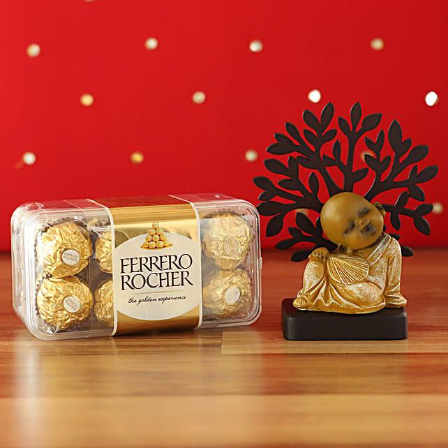 Peaceful Monk Idol & Ferrero Rocher Combo