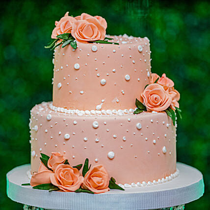 OnlinePeach Roses Truffle 2 Tier Cake:60Th Birthday Cakes