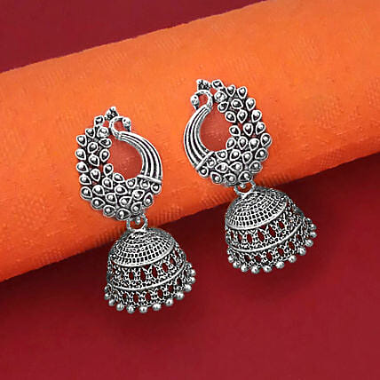 Peacock Design Oxidised Jhumki Earrings:Gifts Mall Bestsellers