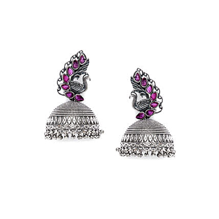 Peacock & Purple Stones Silver Plated Jhumkis