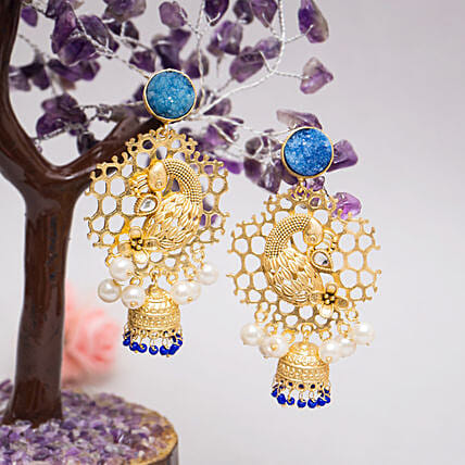 Peacock Shaped Jhumkas:Send Jewellery Gifts