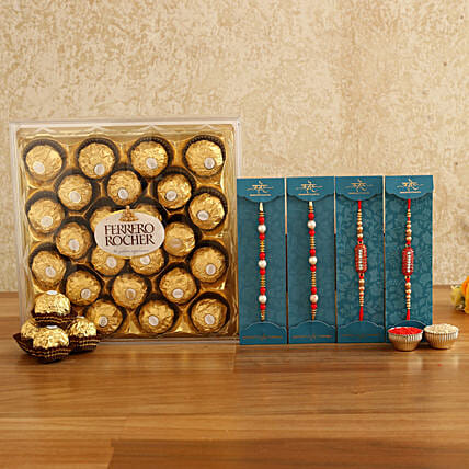 set of rakhis with chocolate combo