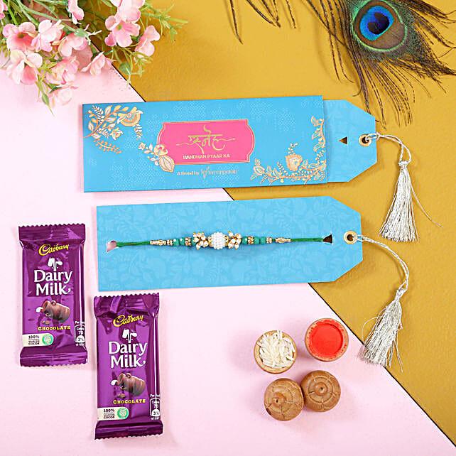 Pearl Classy Look Rakhi and Dairy Milk Chocolates