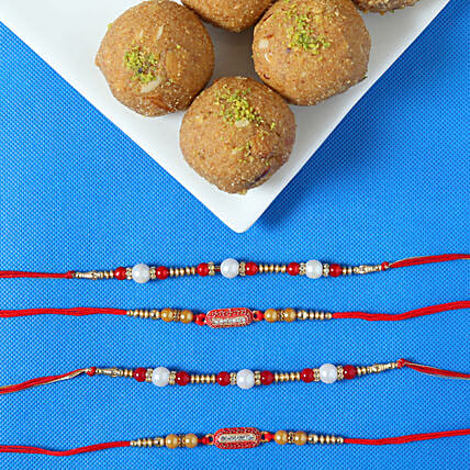 online set of rakhi with besan laddu combos
