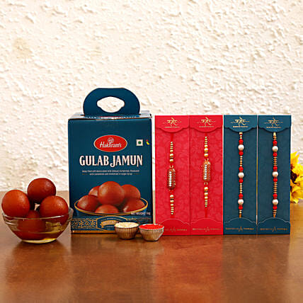 Online  Rakhi Set With Gulab Jamun Sweets