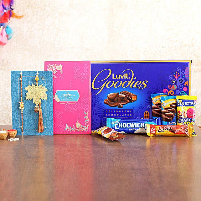 Pearl Lumba Rakhi Set And Chocolates