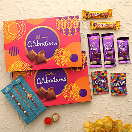 stylish rakhi set with cadbury boxes online