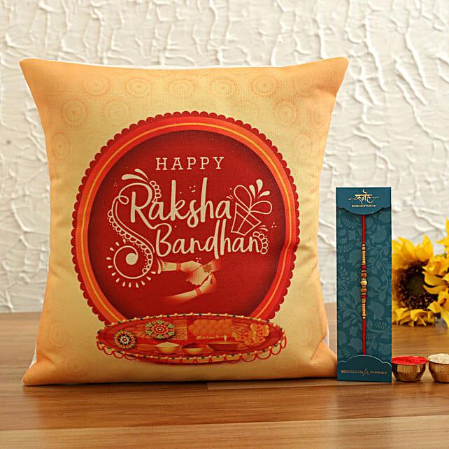 Pearl Rakhi and Beautiful Cushion:Rakhi With Other Gifts