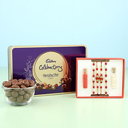 cute rakhi set with celebration box online
