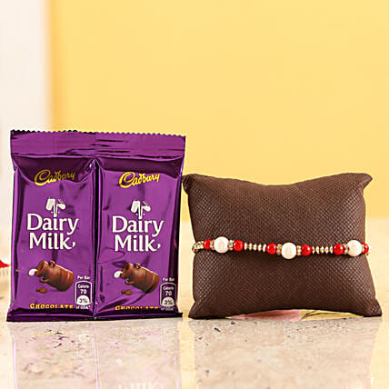 online pearl rakhi with chocolate bars