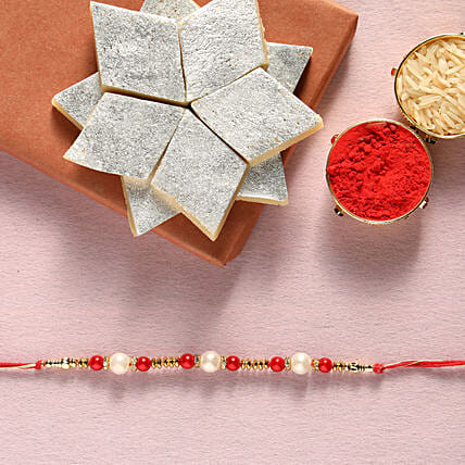 Pearl  rakhi and kaju katli box online