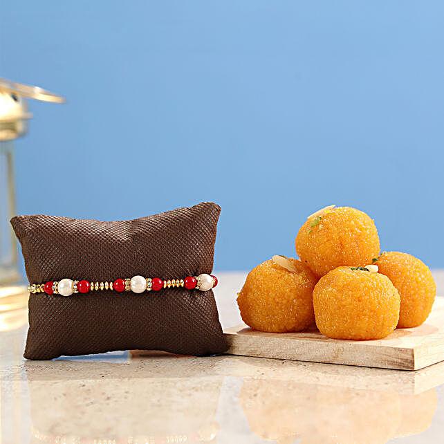 Pearl rakhis with motichoor laddu online