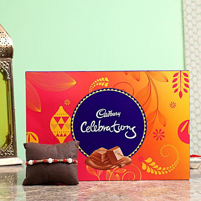 pearl rakhi with cadbury celebrations online:Raksha Bandhan Gifts for Brother