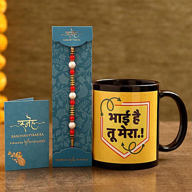 Order Pearl Rakhi and Printed Black Mug Combo:Send Rakhi with Mugs