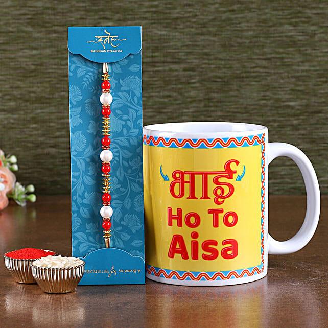 Online Rakhi and Coffee Mug For Brother:Rakhi With Mugs