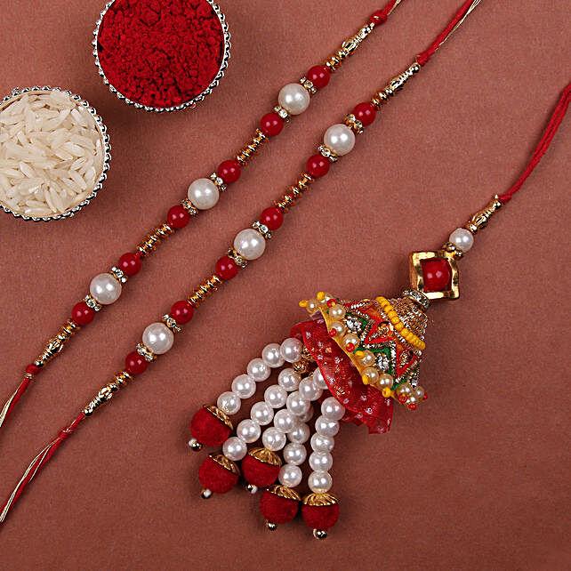 Online Pearl And Lumba Rakhi Set