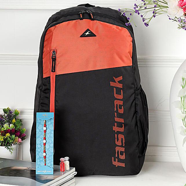 Pearl Rakhi With Fastrack Black N Orange Backpack