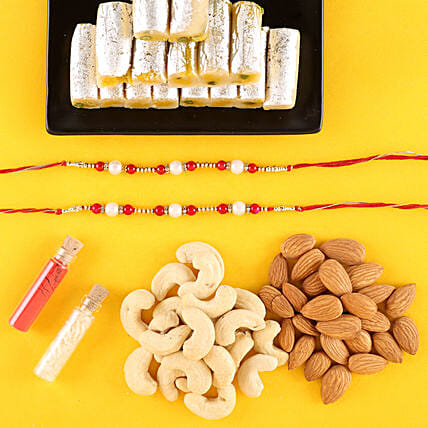 Pearl Rakhis With Dry Fruits & Kaju Roll