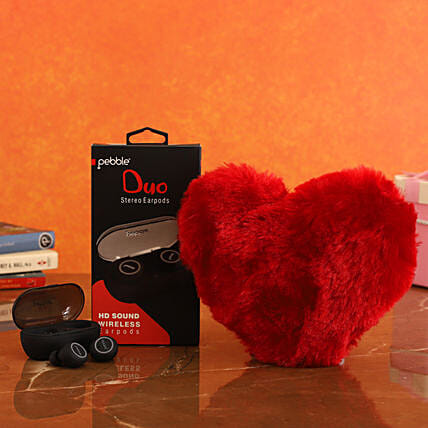 combo of Pebble TWS Stereo Earpods & Red Heart