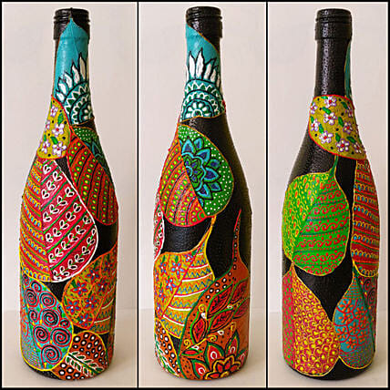 Online Peepal Patti Hand Painted Bottle:Handicrafts