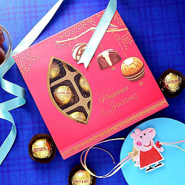 Peppa Pig Cute Rakhi N Assorted Chocolate Box