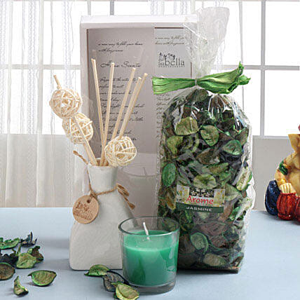 Combo of glass candle, potpourri and fragrant sticks