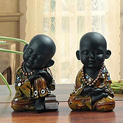 Combo of sleeping and meditating monk showpiece:Feng Shui Gifts
